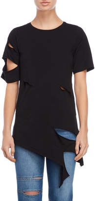 Each X Other Asymmetrical Sliced Tunic Tee