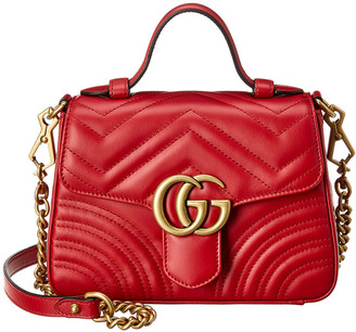 Gucci Gg Marmont Mini Top Handle Leather Shoulder Bag