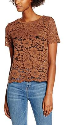 New Look Women's Rib Neck Lace Tee T-Shirt
