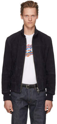 Ami Alexandre Mattiussi Navy Suede Harrington Jacket