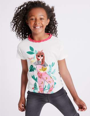 Marks and Spencer Pure Cotton Girl T-Shirts (3-16 Years)