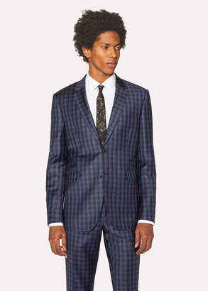 Paul Smith Men's Slim-Fit Navy Check Wool Blazer