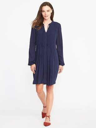 Old Navy Pintucked Crepe Swing Dress for Women