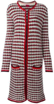 Moncler patterned knit long coat