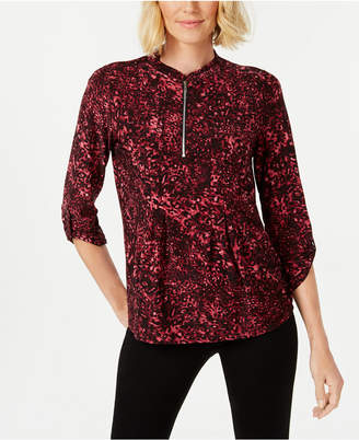 NY Collection Petite Zip-Up Knit Top