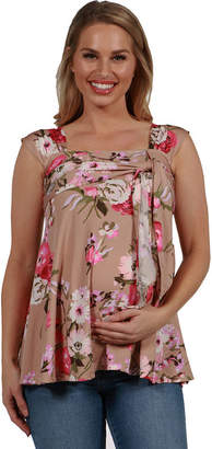 24/7 Comfort Apparel 24Seven Comfort Apparel Britt Brown and Pink Floral Wrap Maternity Tunic Top