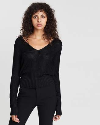 Theory Back Collar Long Sleeve V-Neck Jumper