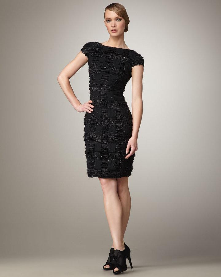 Theia Eyelash-Tweed Dress