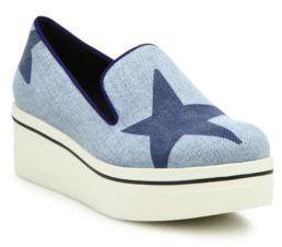 Stella McCartney Binx Star Denim Platform Loafers $565 thestylecure.com