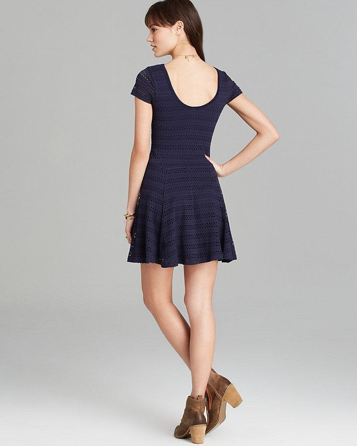 Aqua Dress - Eyelet Knit Open Back