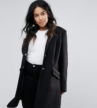 Asos Slim Boyfriend Coat with Zip Pocket