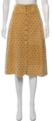 Lanvin Leather Knee-Length Skirt w/ Tags Khaki Leather Knee-Length Skirt w/ Tags