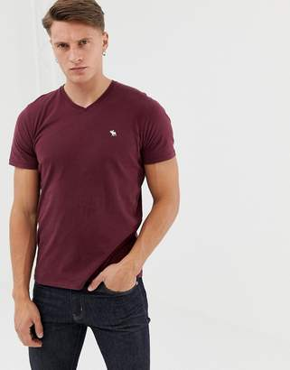 Abercrombie & Fitch new icon logo v-neck t-shirt in burgundy