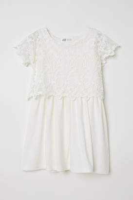 H&M Jersey Dress with Lace - White