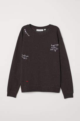 H&M Embroidered Sweatshirt - Gray