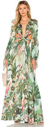 PatBO Paradise Print Cutout Gown