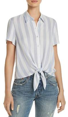FORE Stripe Button-Down Cropped Shirt
