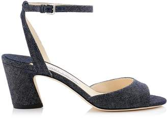 Jimmy Choo MIRANDA 65 Indigo Denim Block Heel Sandals