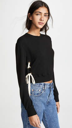 Monrow Super Soft Lace Up High Neck Sweatshirt