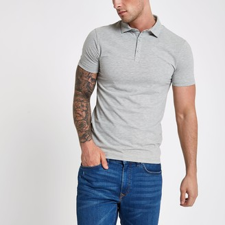River Island Mens Grey essential muscle fit polo shirt