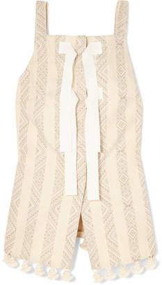 Altuzarra Archie Grosgrain-trimmed Tasseled Cotton-blend Jacquard Top - Off-white