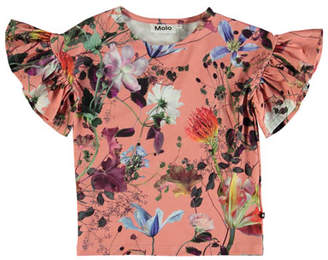 Molo Rayah Flutter-Sleeve Floral Top, Size 4-12