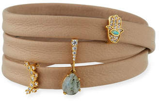 Tai Leather Wrap Bracelet with Charms, Beige