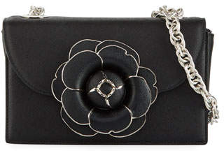 Oscar de la Renta Tro Flower Leather Crossbody Bag - Silver Hardware