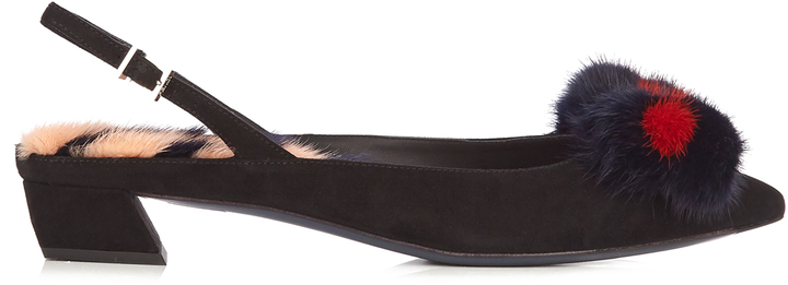FENDI Fur-embellished point-toe suede pumps