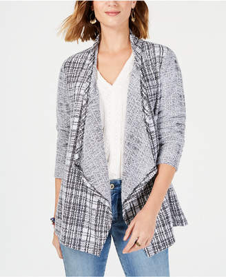 Style&Co. Style & Co Draped French Terry Plaid Cardigan