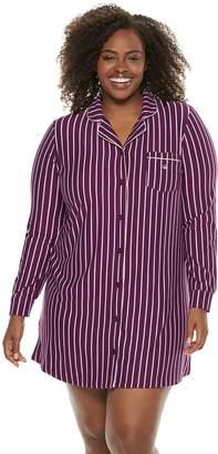Gloria Vanderbilt Plus Size Notch Collar Sleepshirt