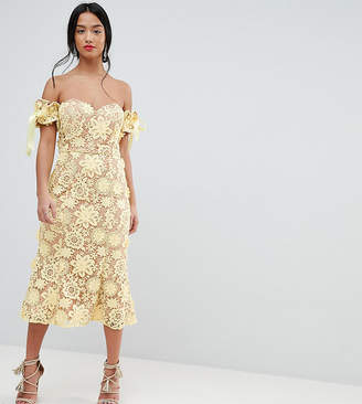 Bardot Jarlo Petite All Over Cutwork Lace Midi Dress With Tie Sleeve Detail