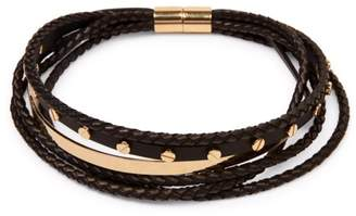 Givenchy Gold Tone Hardware and Leather Multi-Strand Choker Necklace