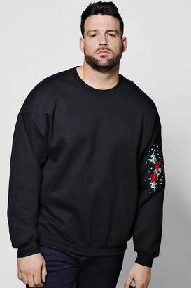 boohoo Big And Tall Arm Rose Embroidered Sweater