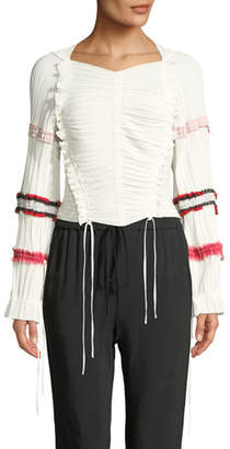 3.1 Phillip Lim Gathered Long-Sleeve Ruffle Top