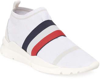 Moncler Men's Adon Mesh-Knit Stretch-Stripe Sneakers