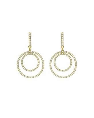 Kiki McDonough Lola Diamond Double-Circle Drop Earrings
