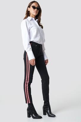 NA-KD Na Kd Highwaist Double Stripe Jeans Black