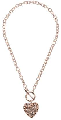 GUESS Swirl Pave Heart Toggle Pendant Necklace Necklace