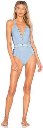 Jonathan Simkhai Vintage Denim Button Down Swimsuit