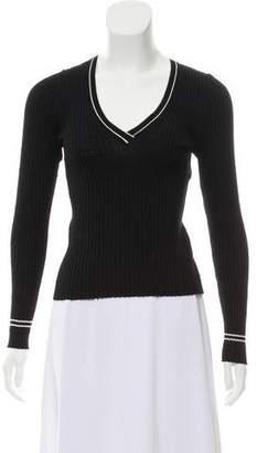Prada Sport V-Neck Rib Sweater