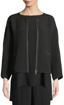 Eileen Fisher Silk Sponge Bomber Jacket