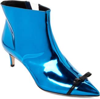 Marco De Vincenzo Blue Metallic Pointed Toe Booties