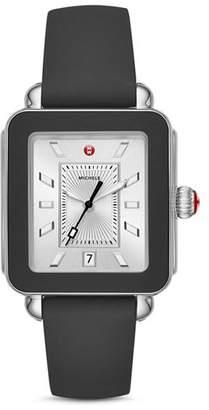 Michele Deco Black Bezel Sport Watch, 34mm x 36mm