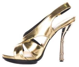 Balenciaga Metallic Slingback Sandals