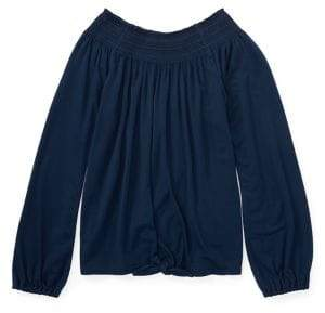 Ralph Lauren Girl's Long-Sleeve Smocked Top