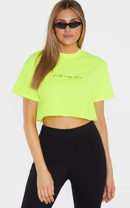 2cbd049a7a7 PrettyLittleThing Tall Neon Lime Slogan Cropped T-Shirt