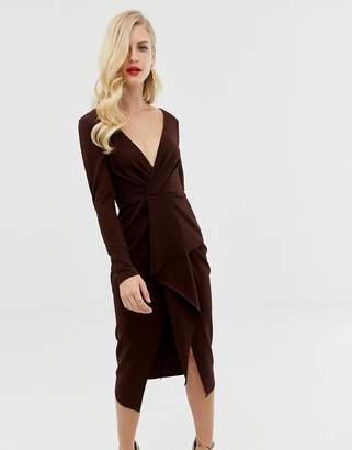Asos Design DESIGN long sleeve textured wrap midi dress