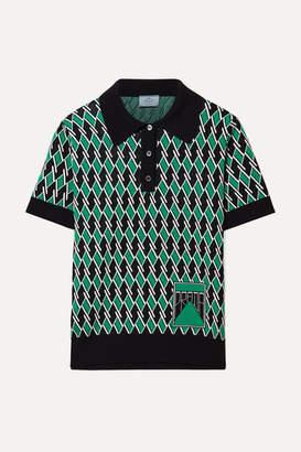 Prada Wool-jacquard Polo Shirt - Green
