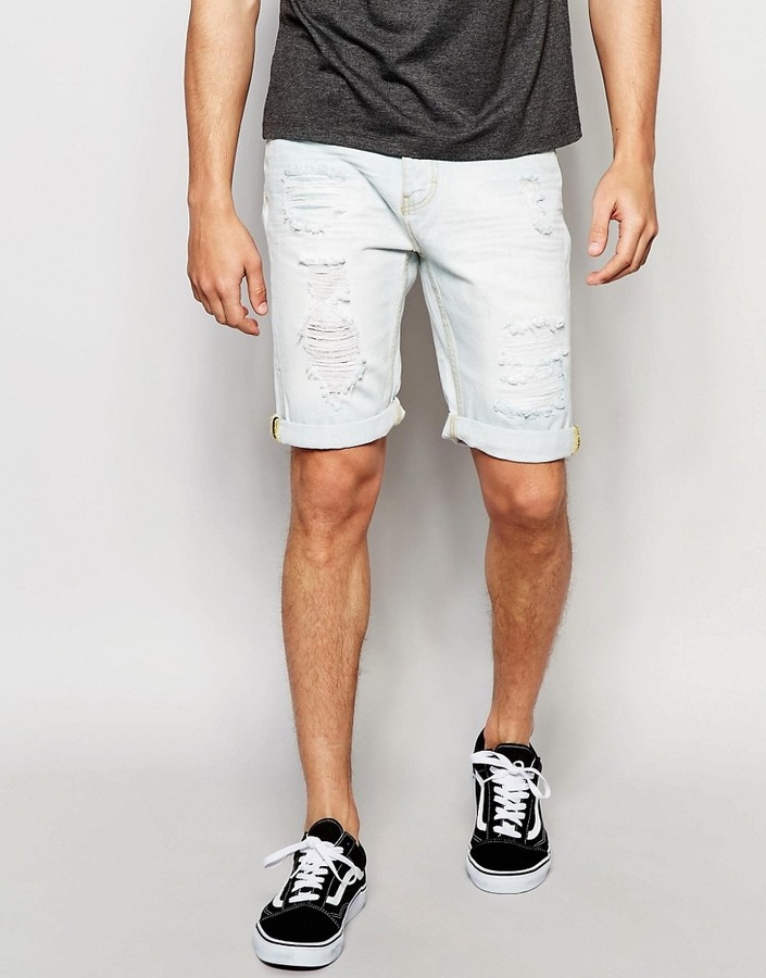 Threadbare 5 Pocket Denim Shorts with Knee Rip